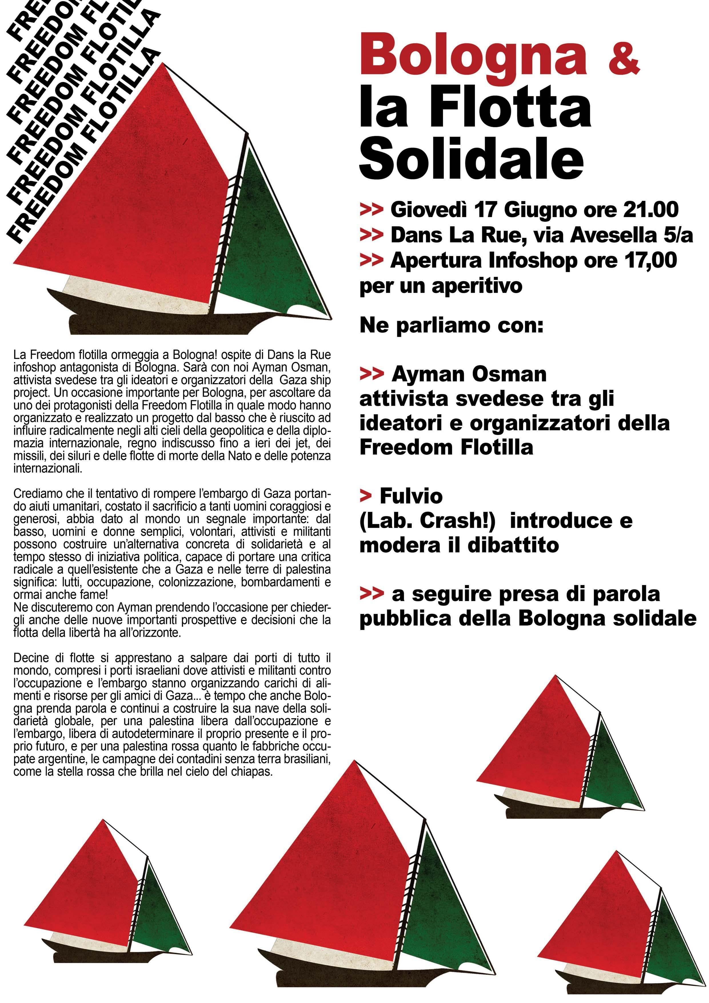 Bologna e la flotta solidale con Ayman Osman 17 giugno 2010